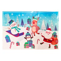 Christmas Santa and Friends Snowy Landscape Giant Gift Bag