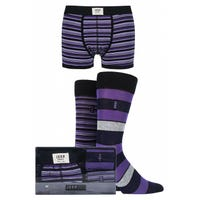 Jeep Mens Socks and Trunks Gift Set in Purple and Black in Size Large