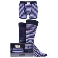 Jeep Mens Socks and Trunks Gift Set in Purple Black and Navy in Size Medium