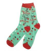 Ladies Christmas Festive Text Socks