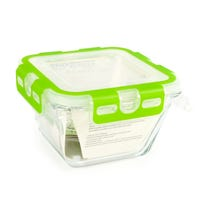 Square Glass Container with Lid 10.5cm x 10.5cm