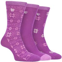 Storm Bloc Womens Fairisle Jacquard Socks in Cerise Size 4-8 3 Pack