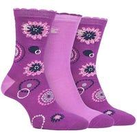 Storm Bloc Womens Flower Jacquard Socks in Cerise Size 4-8 3 Pack