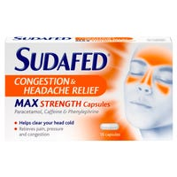 Sudafed Max Strength Congestion and Headache Relief 16 Capsules