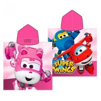 Pink Super Wings Cotton Hooded Poncho Towel