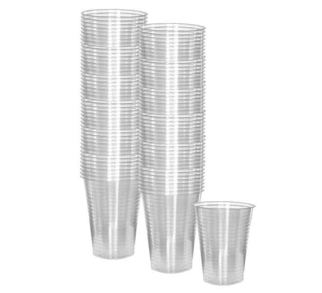 100 Pack Clear Plastic Drinking Cups