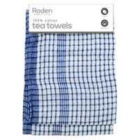 Mono Check Tea Towel Blue and White 2 Pack