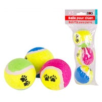 Tennis Ball with Paw Print Pattern 3 Pack