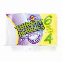 Thirsty Bubbles Kitchen Towel 6 Rolls 3 Ply
