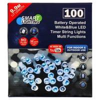 LED Timer String Lights in Blue and White 100 Pack