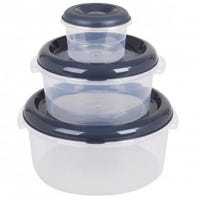 Plastic Circle Food Storage Containers Grey 3 Pack