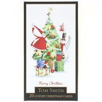 Tom Smith Luxury Slim Whimsical Christmas Tree Christmas Cards 24 Pack