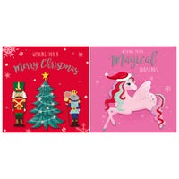 Christmas Cards Unicorn and Nutcracker 12 Pack