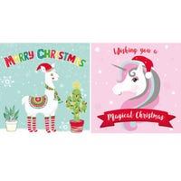 Unicorn/Llama Christmas Cards