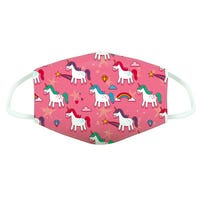 Reusable Childrens Face Covering in Pink Unicorn Print