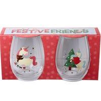 Festive Friends Glass Tumblers  Unicorn 2 Pack