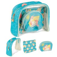 Vacation Vibe Unicorn Toiletry Bag Set 3 Piece