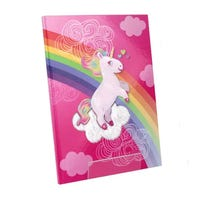A4 Textured Hardback Notebook Pink Unicorn