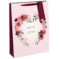 Valentines With Love Floral Gift Bag in Large
