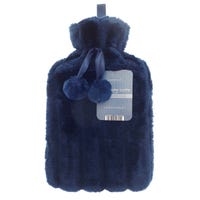 Hot Water Bottle with Fur Cover Navy Blue 2L