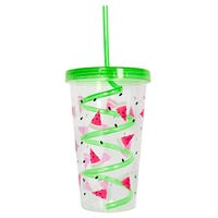 Watermelon Beaker with Lid and Straw in Green