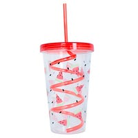Watermelon Beaker with Lid and Straw in Red