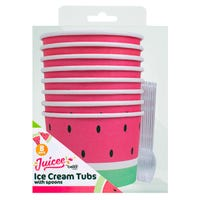 Watermelon Ice Cream Tubs with Spoons 8 Pack