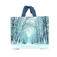 Woven Christmas Snowy Trees Carrier Bag