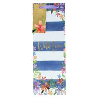 Navy Stripe Floral Bottle Gift Bag