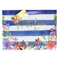 Navy Stripe Floral Shopper Gift Bag