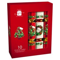 Christmas Crackers in Traditional Wreath Design 10 Pack