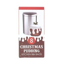 Christmas Pudding Bin Liners 8 Pack