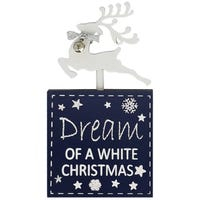 Yuletide Reindeer Block Dreaming Of A White Christmas Plaque